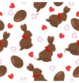 seamless pattern with chocolate bunnies eggs vector image
