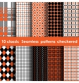 Set of 10 classic seamless checkered patterns vector image vector image