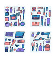 set of cosmetic items collection of beauty tools vector image