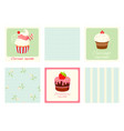 set vintage square cards with cupcakes and vector image vector image