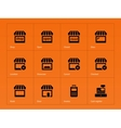 Shop icons on orange background vector image vector image