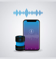 smartphone connected with wireless speaker vector image vector image