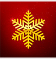 snow flake with glittering over dark red vector image