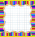 square frame made of colorful wooden pencils on vector image vector image