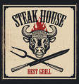 steak house poster template bull head with fire vector image vector image