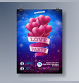 valentines day loveparty flyer design with vector image vector image