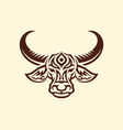 water buffalo head mascot silhouette with tracery vector image
