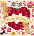 wedding invitation angels flowers and love heart vector image vector image