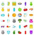 wellness icons set cartoon style vector image vector image