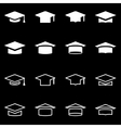 white academic cap icon set vector image