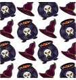 witch cauldron and hat halloween comic pattern vector image
