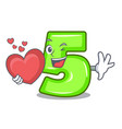 with heart number five isolated on the mascot vector image vector image