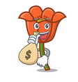 with money bag poppy flower character cartoon vector image