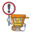 with sign wooden trolley character cartoon vector image