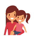 young mom carrying her daughter happy vector image vector image