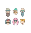 Young stylish people linear vector image