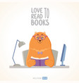 bear reads vector image