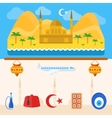 Turkey or turkish icons and background vector image