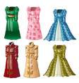 a set of vintage ladies long dresses isolated on vector image