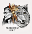artistic portrait indian and wolf vector image