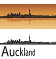Auckland skyline in orange background