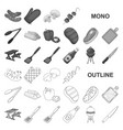 barbecue and equipment monochrom icons in set vector image