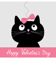 Black cat with pink bow Happy Valentines Day vector image vector image
