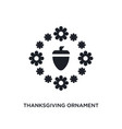 black thanksgiving ornament isolated icon simple vector image vector image