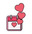 calendar with hearts love vector image
