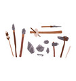 collection of prehistoric stone tools bundle of vector image vector image