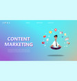 content marketing landing page vector image vector image