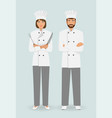 cooking food characters couple of male and female vector image vector image