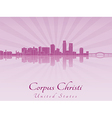 Corpus Christi skyline in purple radiant orchid vector image vector image