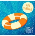 Cute summer poster - orange lifebuoy in water vector image vector image