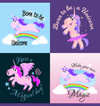 Cute unicorn isolated set magic pegasus flying