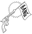 doodle gun bang comedy vector image vector image