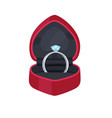 engagement ring in velvet box with precious stone vector image vector image