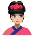 geisha flowers in her head vector image vector image