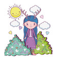 girl fantastic creature with bushes and sun vector image vector image