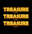 gold logo treasure inscription in 3 steps vector image vector image