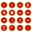 golf items icon red circle set vector image vector image