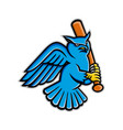 great horned owl baseball mascot vector image