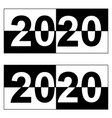 happy new year 2020 monochrome square black and vector image vector image