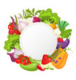 healthy vegetables and vegetarian food round vector image vector image
