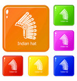 indian hat icons set color vector image vector image