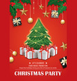 invitation merry christmas red party poster vector image vector image