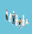 isometric business team standing with chess vector image vector image