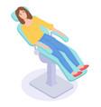 isometric cartoon concept online medicine girl vector image