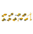 isometric icons set of construction equipment and vector image