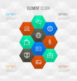job outline icons set collection of analytics id vector image vector image